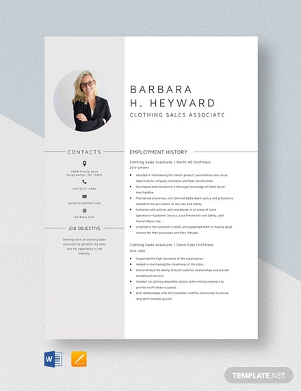 Clothing Sales Associate Resume Template