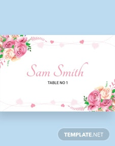 Free Alabaster Floral Wedding Place Card Template