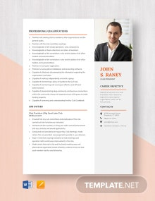 Club President Resume Template