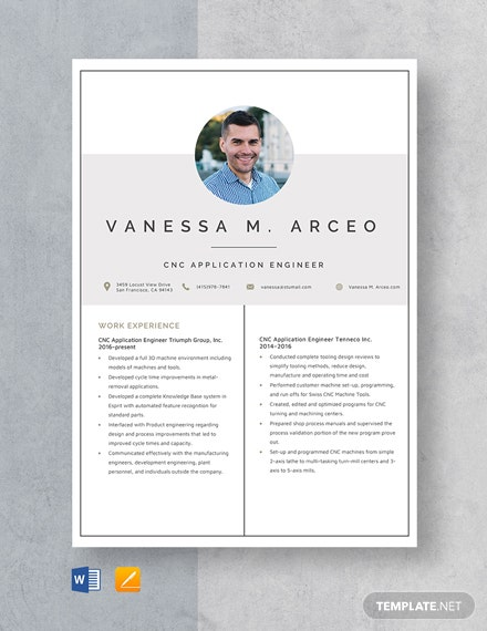CNC Application Engineer Resume Template