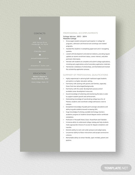 College Advisor Resume Download