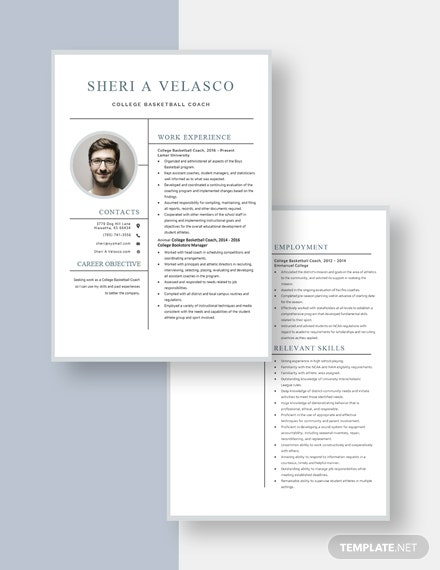 College Basketball Coach Resume Template