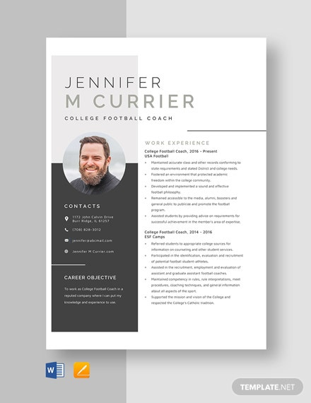 college football coach resume template  download 736  resumes in microsoft word  apple pages