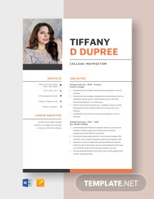 College Instructor Resume Template
