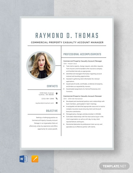 Commercial Property Casualty Account Manager Resume Template