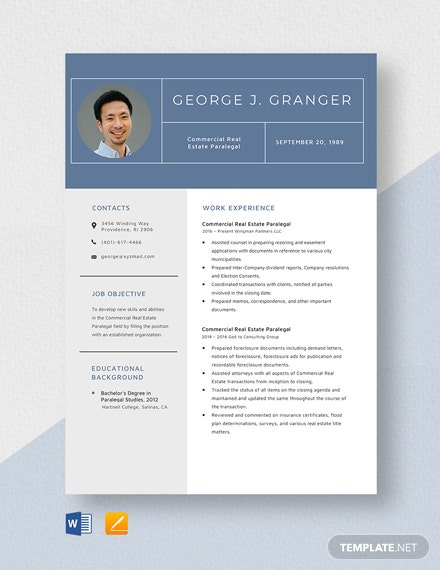 Commercial Real Estate Paralegal Resume Template
