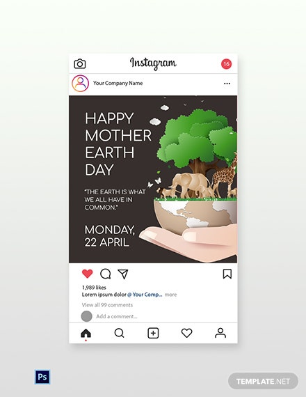 Free Instagram Mother Earth Template