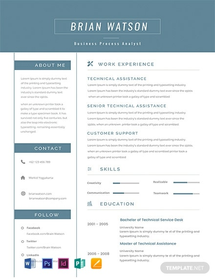 Free Senior Business Process Resume Template