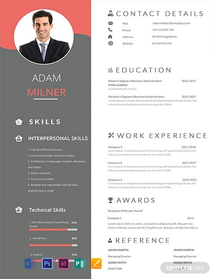 92+ FREE Photo Resume Templates - Word | PSD | InDesign ...