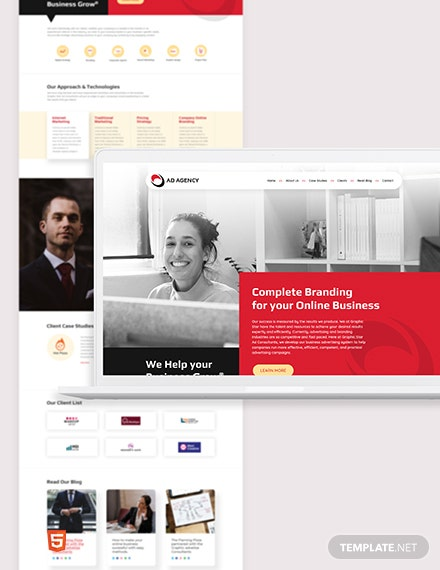 Advertising Consultant Bootstrap Landing Page Template