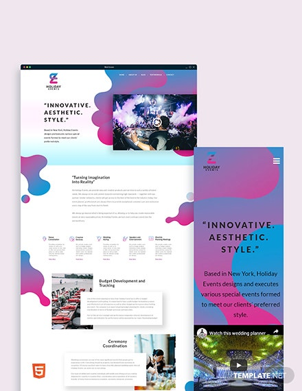 Event Planner Bootstrap Landing Page Template
