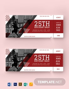 Basketball Birthday Ticket Template