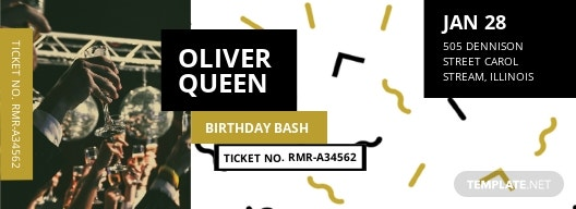 Birthday Event Ticket Template