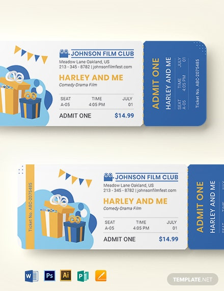 Birthday Movie Ticket Template