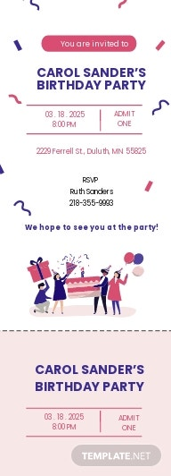 Birthday Party Ticket Invitation Template