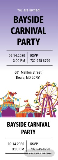 Carnival Party Ticket Invitation Template