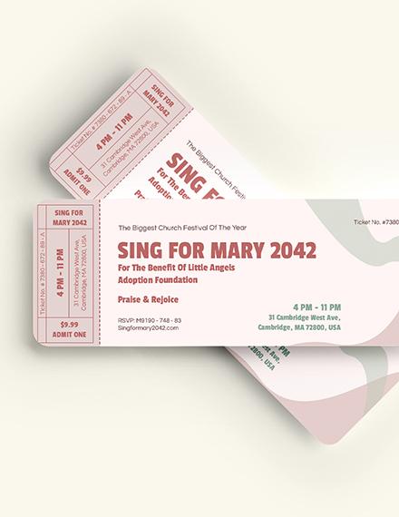 Sample Church Event Ticket