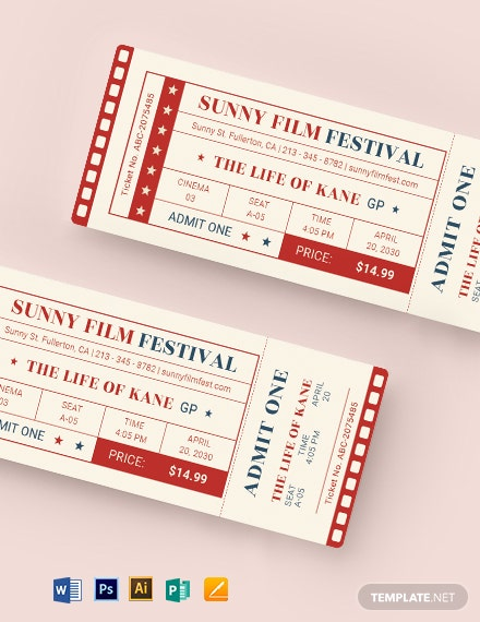 classic movie ticket template 1