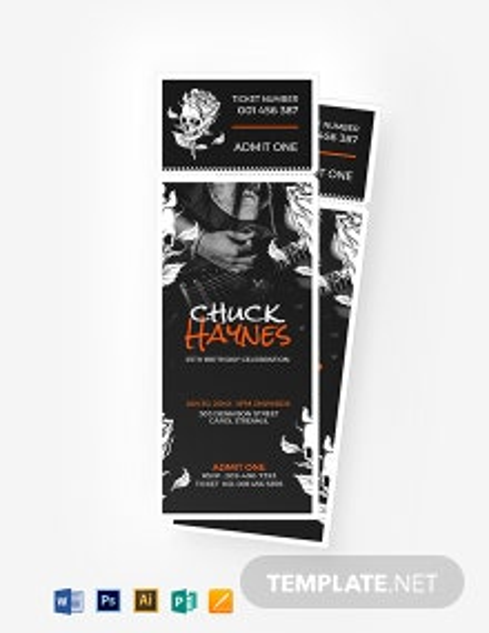 Concert Birthday Ticket Template