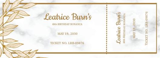 Elegant Birthday Ticket Template