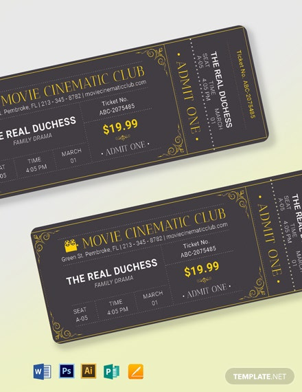 elegant movie ticket template 2
