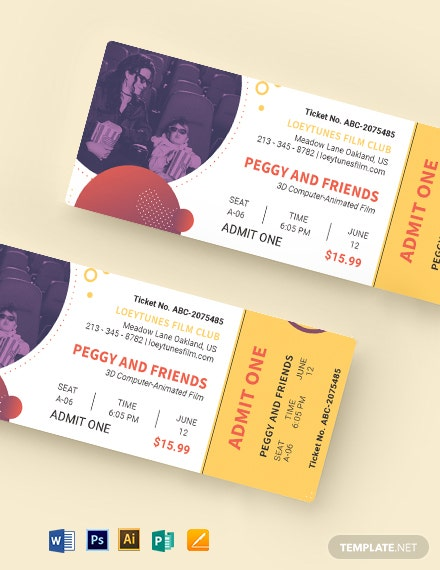family movie ticket template 1