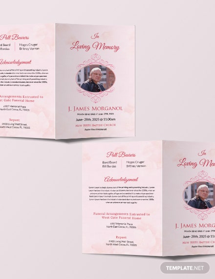 Free Bi-fold Funeral Brochure Template