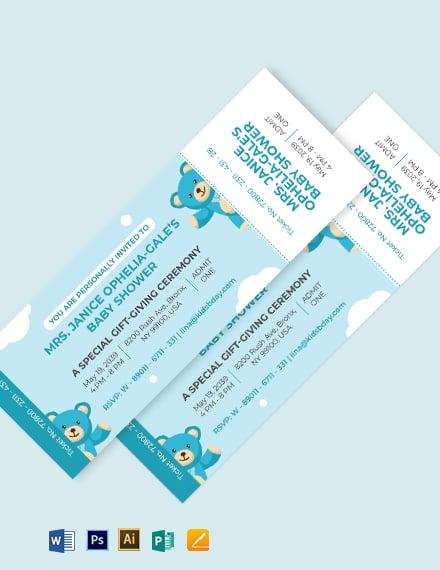 Baby Shower Ticket Invitation Template