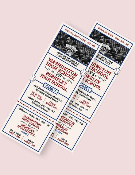 Baseball Ticket Invitation Template Word Psd Le