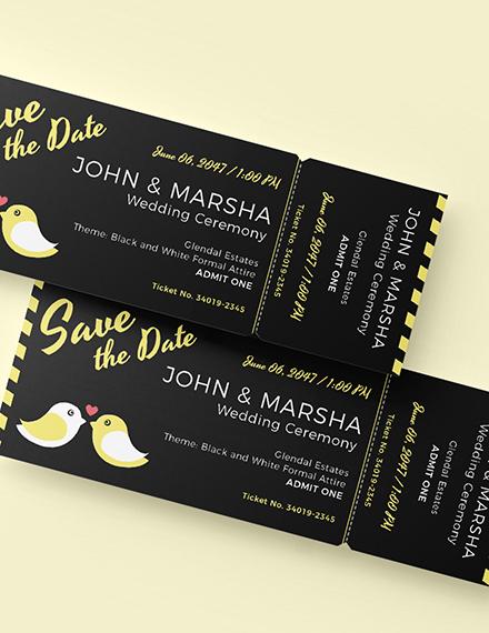 Sample Blank Wedding Ticket
