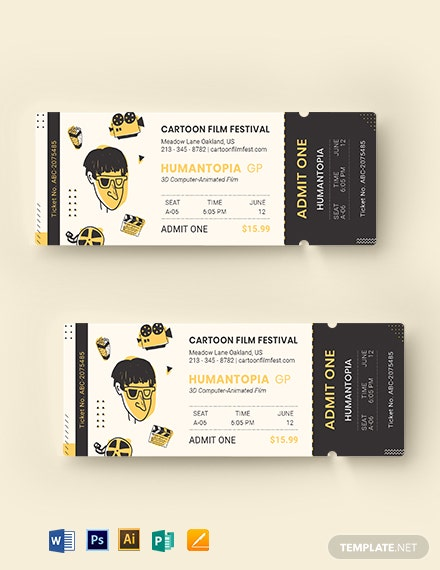 cartoon movie ticket template 1
