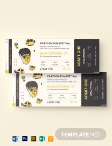 Cartoon Movie Ticket Template