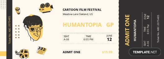 Cartoon Movie Ticket Template