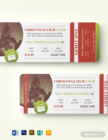 christmas movie ticket template 1