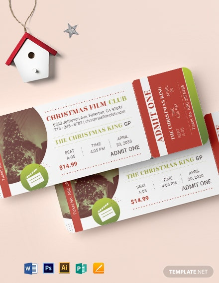Christmas Movie Ticket Template