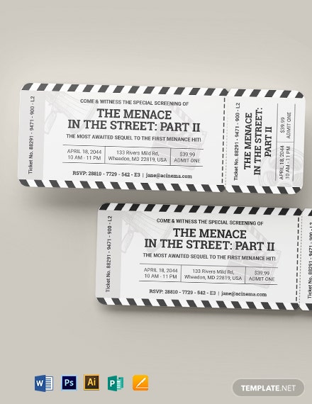 cinema ticket invitation template 1