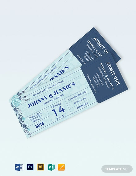 Creative Wedding Ticket Template