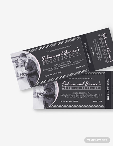 Sample Elegant Wedding Ticket
