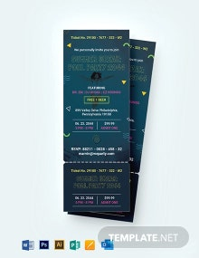 Pool Party Ticket Invitation Template