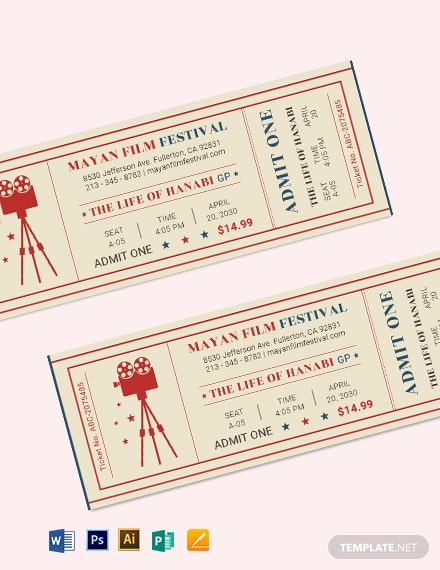 retro movie ticket template 2