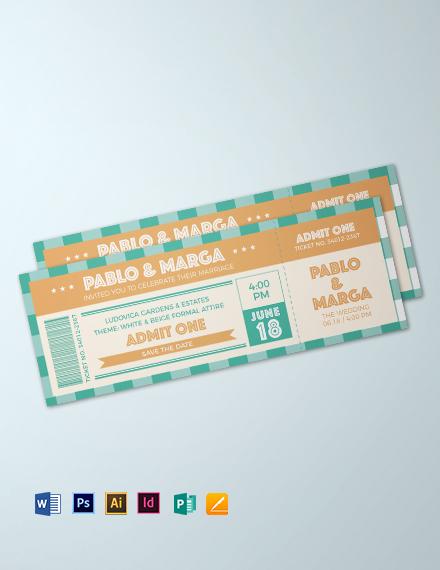 Retro Wedding Ticket Template