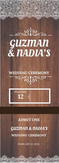 Rustic Wedding Ticket Template