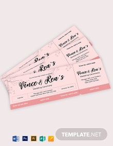 Simple Wedding Ticket Template