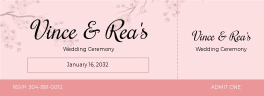Simple Wedding Ticket Template