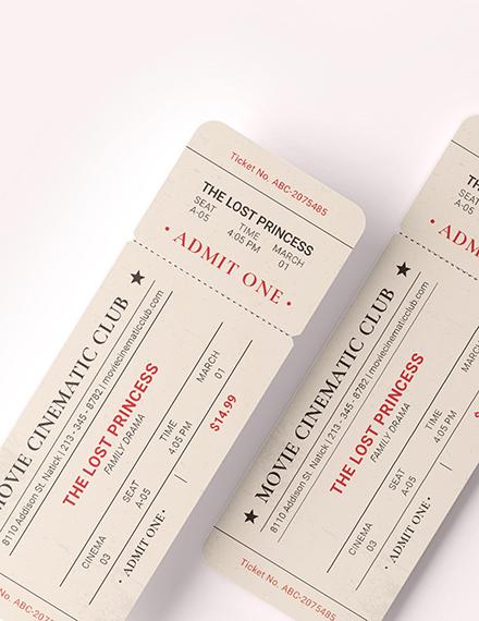 Sample Vintage Movie Ticket