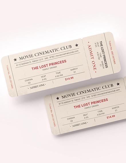Vintage Movie Ticket Download