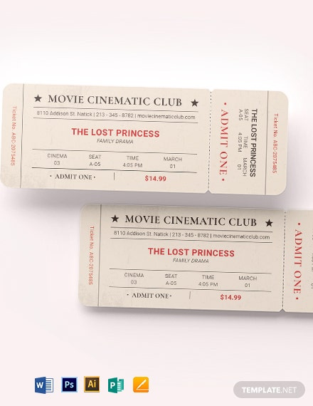 vintage movie ticket template 1