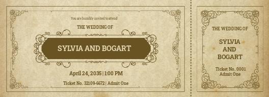 Vintage Wedding Ticket Template