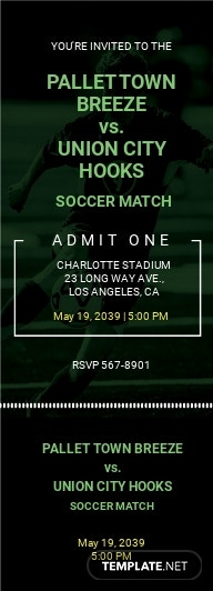 Soccer Game Ticket Invitation Template