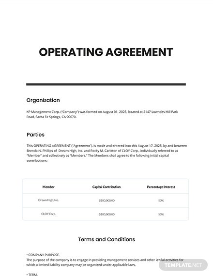 Free Operating Agreement Template
